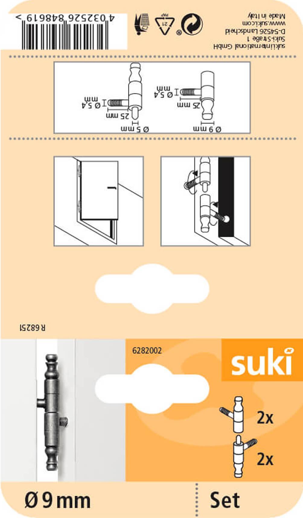 suki Messingb/ürste 4reihig 3x28 Holzgriff 3er-Set,Reinigungsb/ürste
